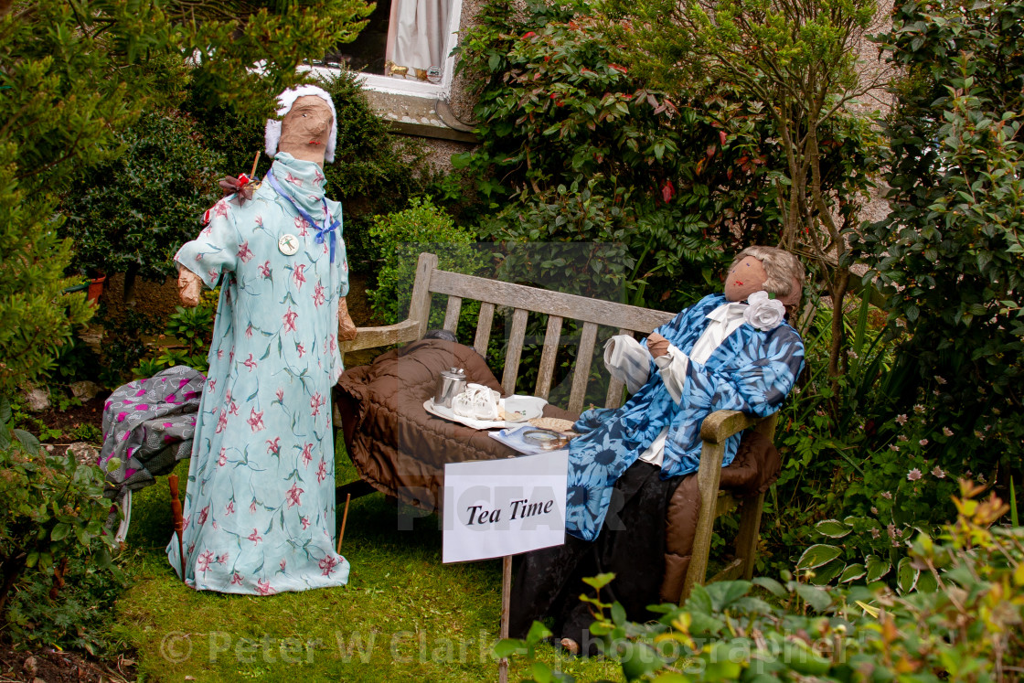 """Kettlewell Scarecrow Festival and Trail, Tea Time. Yorkshire Dales, England."" stock image"