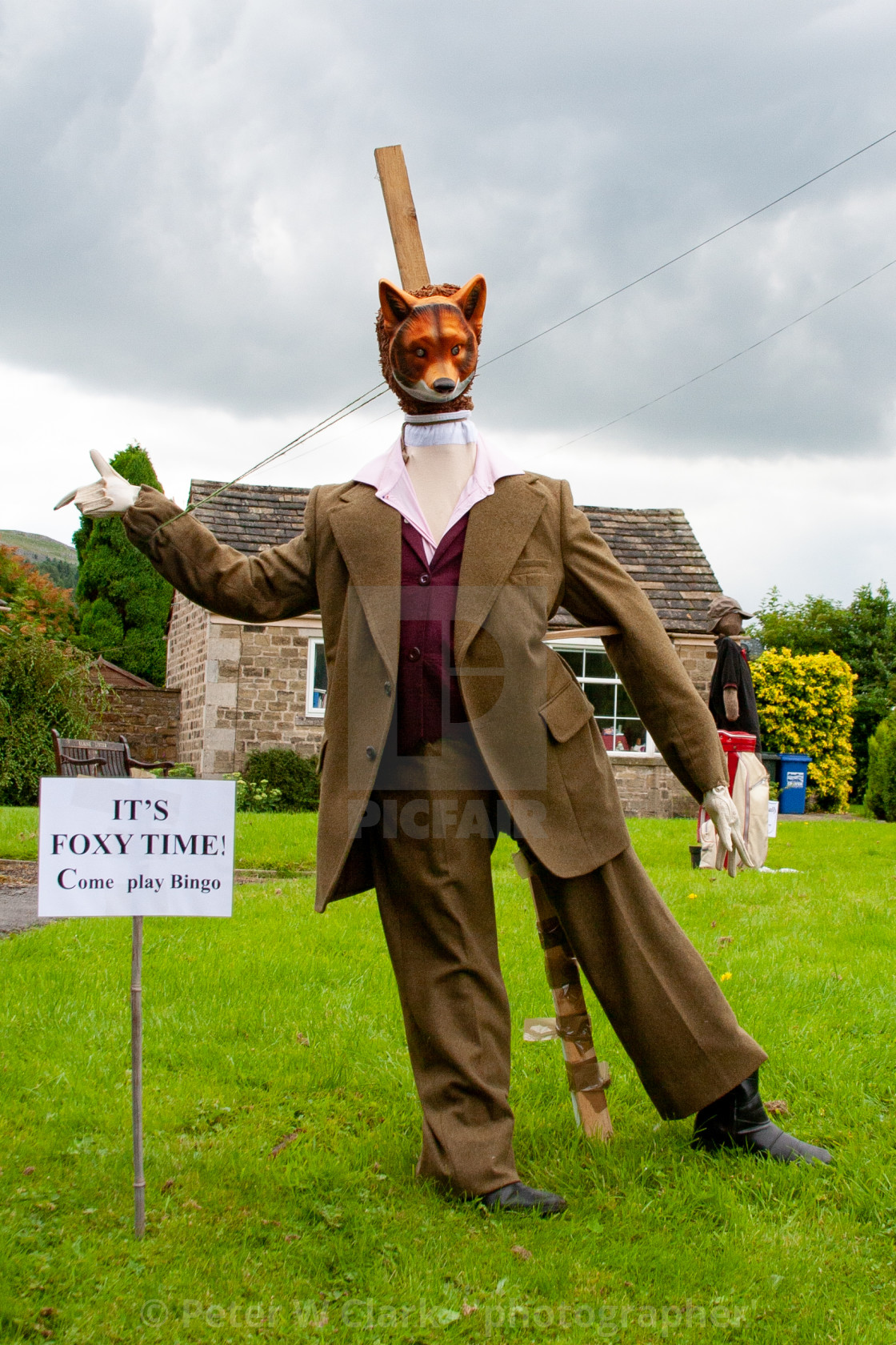 """Kettlewell Scarecrow Festival and Trail, Foxy, Yorkshire Dales, England."" stock image"