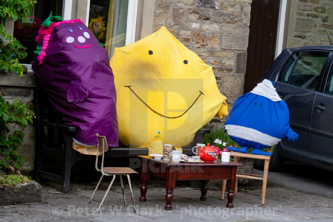 """Kettlewell Scarecrow Festival and Trail, Mr Men, Teatime. Yorkshire Dales, England."" stock image"