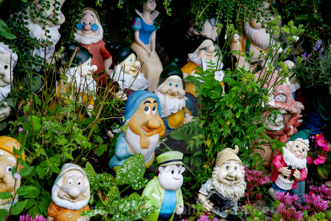 """Kettlewell Scarecrow Festival and Trail, Gnomes. Yorkshire Dales, England."" stock image"