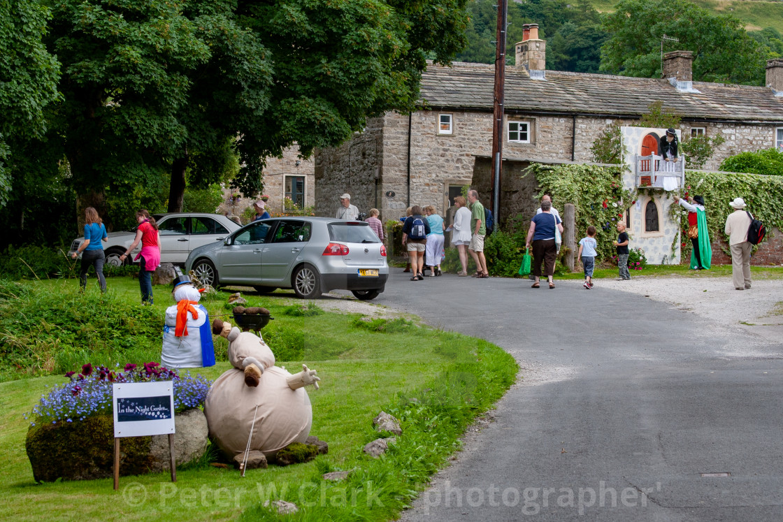 """Kettlewell Scarecrow Festival and Trail, Yorkshire Dales, England."" stock image"