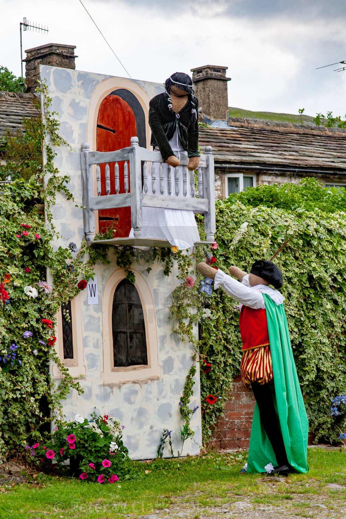 """Kettlewell Scarecrow Festival and Trail, Romeo and Juliet. Yorkshire Dales, England."" stock image"