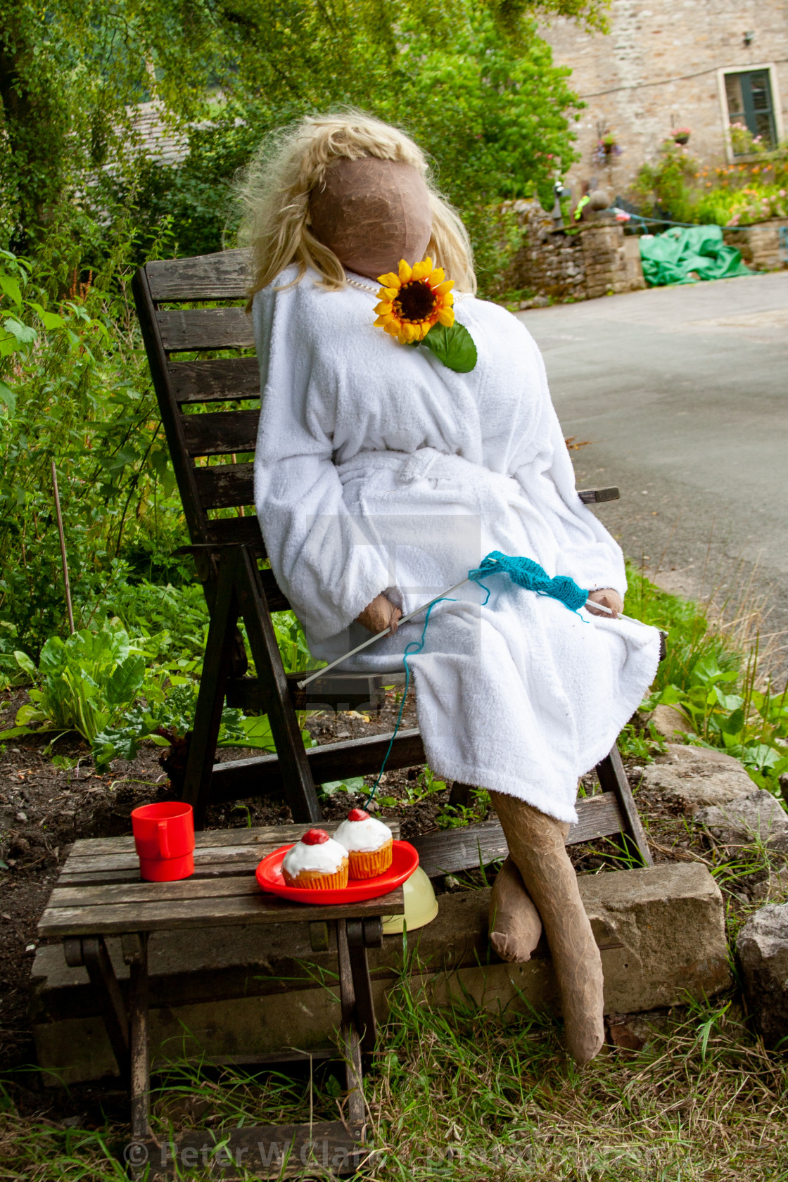 """Kettlewell Scarecrow Festival and Trail, Cherry Bun Time. Yorkshire Dales, England."" stock image"