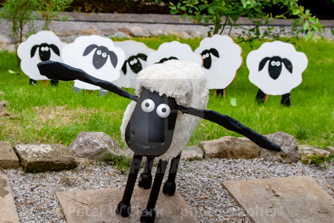 """Kettlewell Scarecrow Festival and Trail, Shaun the Sheep. Yorkshire Dales, England."" stock image"