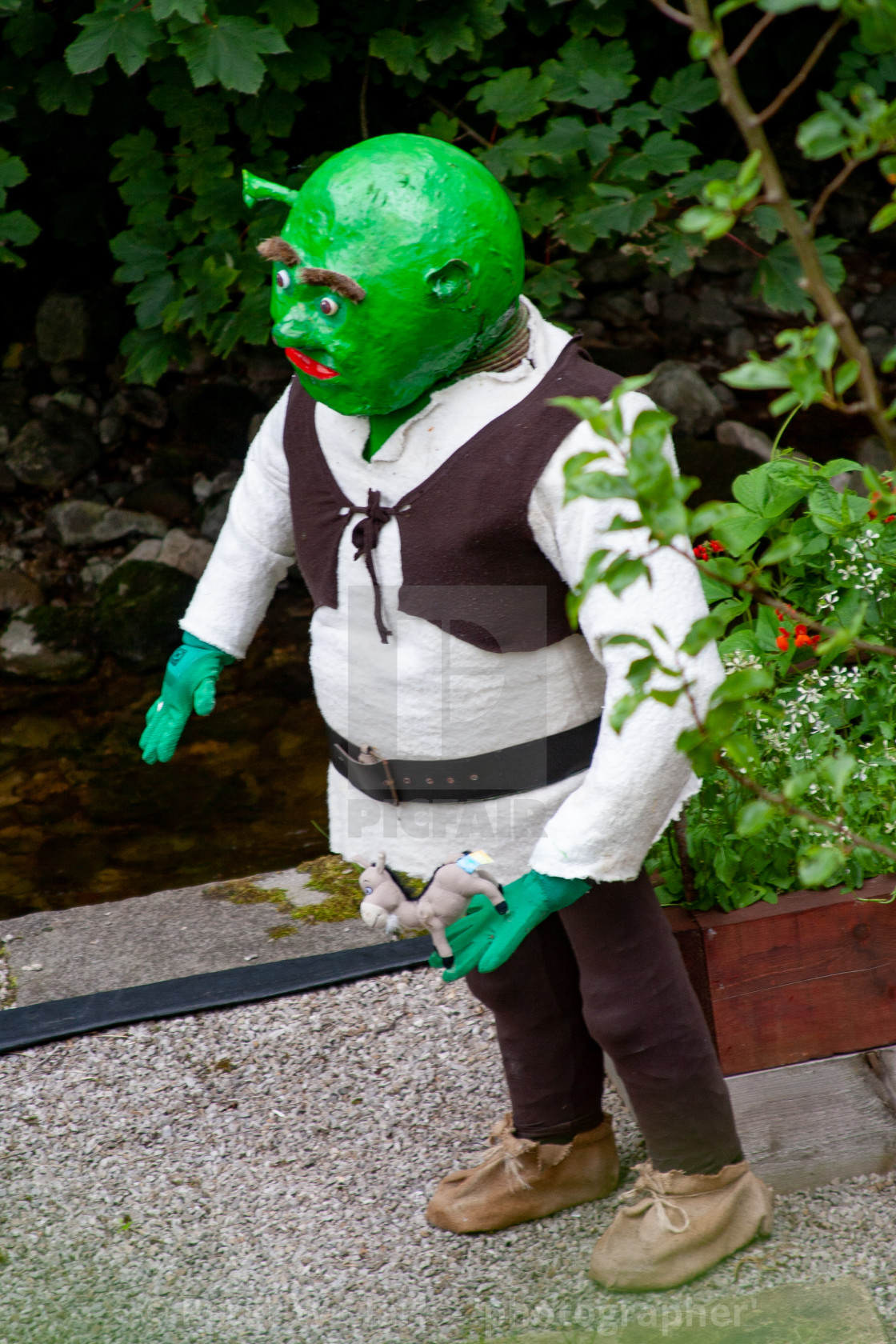 """Kettlewell Scarecrow Festival and Trail, Shrek. Yorkshire Dales, England."" stock image"