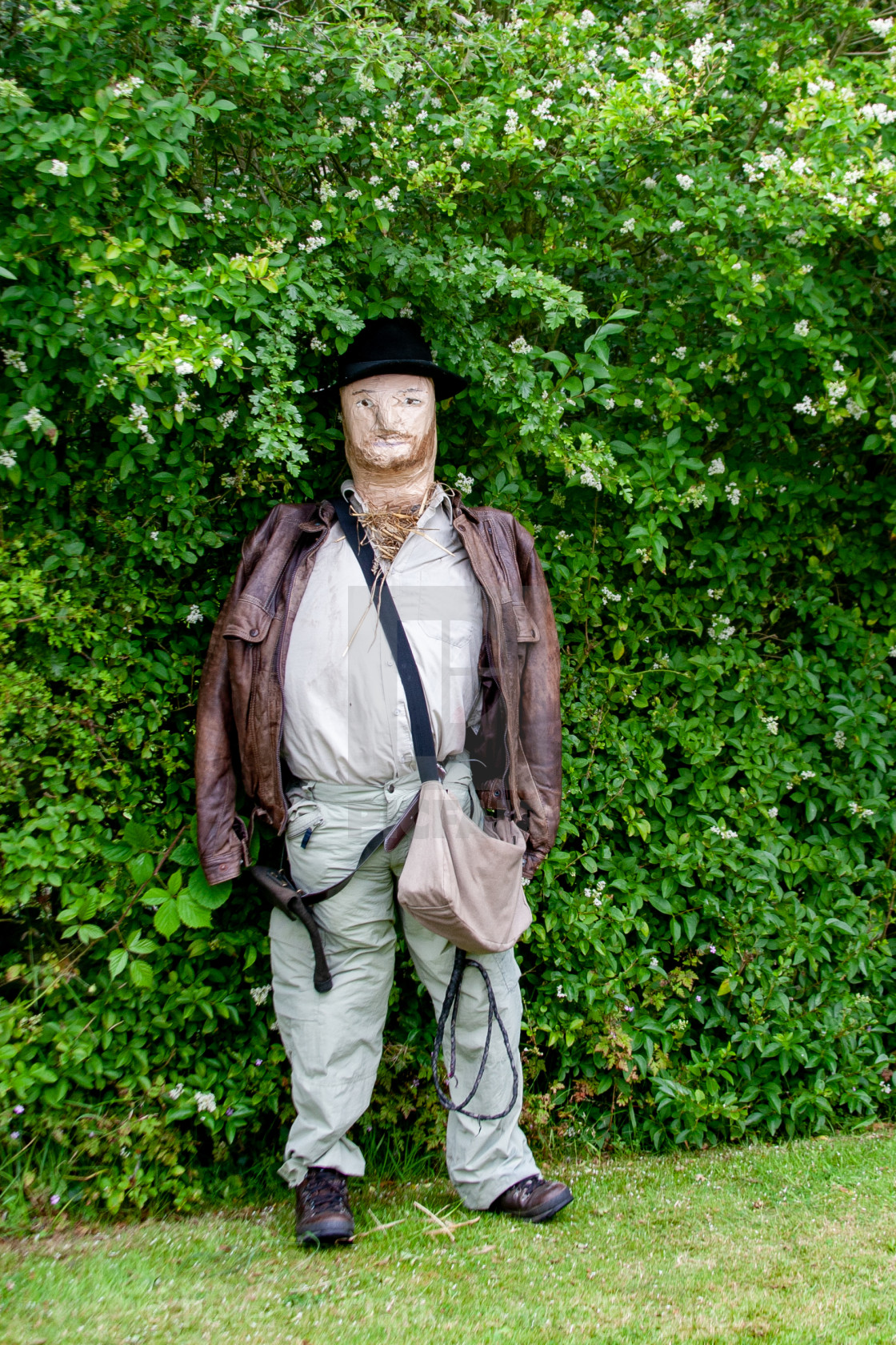 """Kettlewell Scarecrow Festival and Trail, Indiana Jones. Yorkshire Dales, England."" stock image"