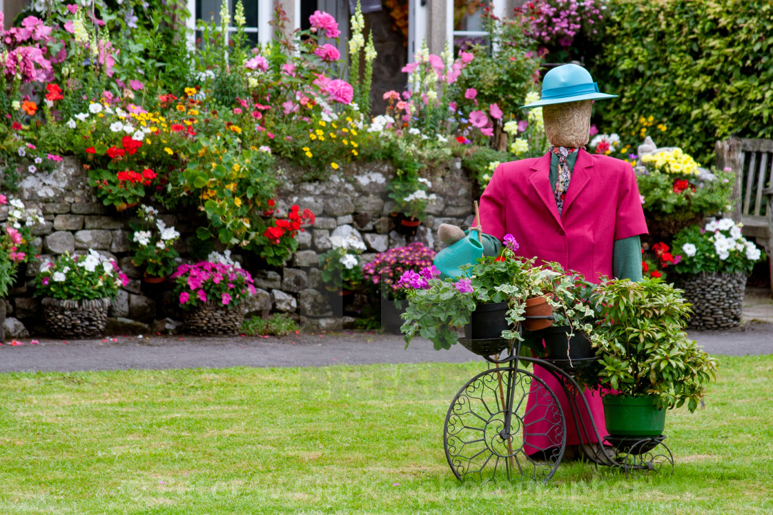 """Kettlewell Scarecrow Festival and Trail, Garden Lady. Yorkshire Dales, England."" stock image"