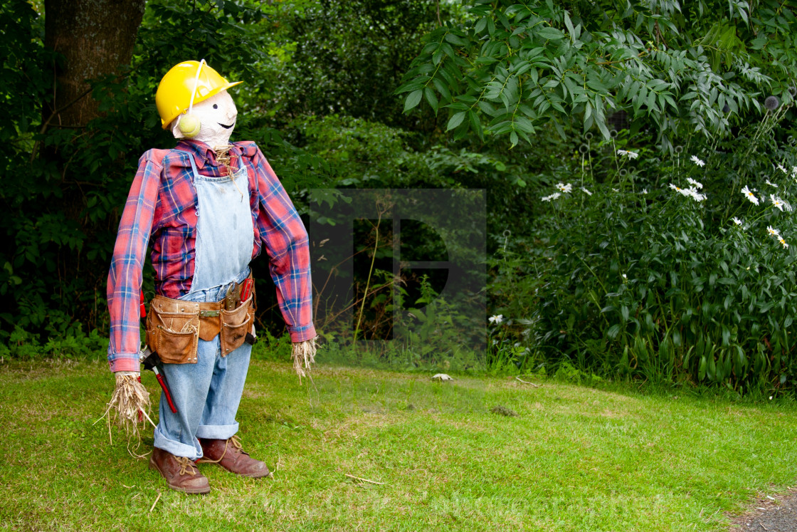 """Kettlewell Scarecrow Festival and Trail, Bob the Builder. Yorkshire Dales, England."" stock image"