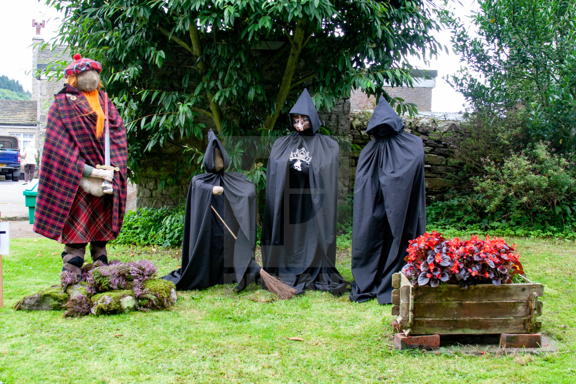 """Kettlewell Scarecrow Festival and Trail, Braveheart and Wiches. Yorkshire Dales, England."" stock image"
