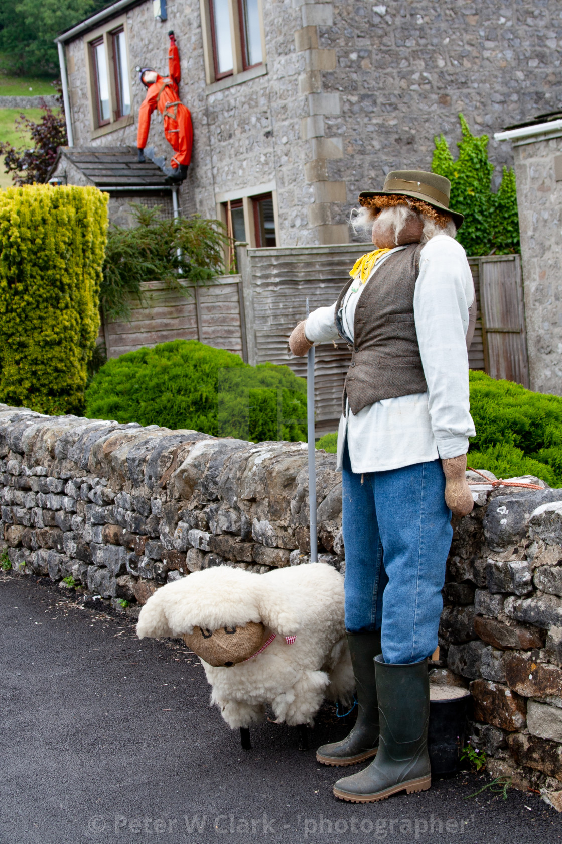 """Kettlewell Scarecrow Festival and Trail, Shepherd and Sheep. Yorkshire Dales, England."" stock image"