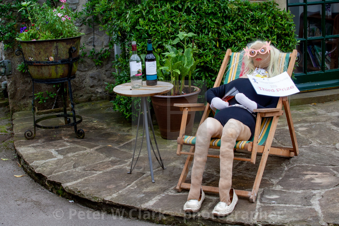 """Kettlewell Scarecrow Festival and Trail, Lady in Deckchair. Yorkshire Dales, England."" stock image"