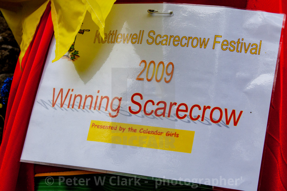 """Kettlewell Scarecrow Festival and Trail, Winning Scarecrow Certificate. Yorkshire Dales, England."" stock image"
