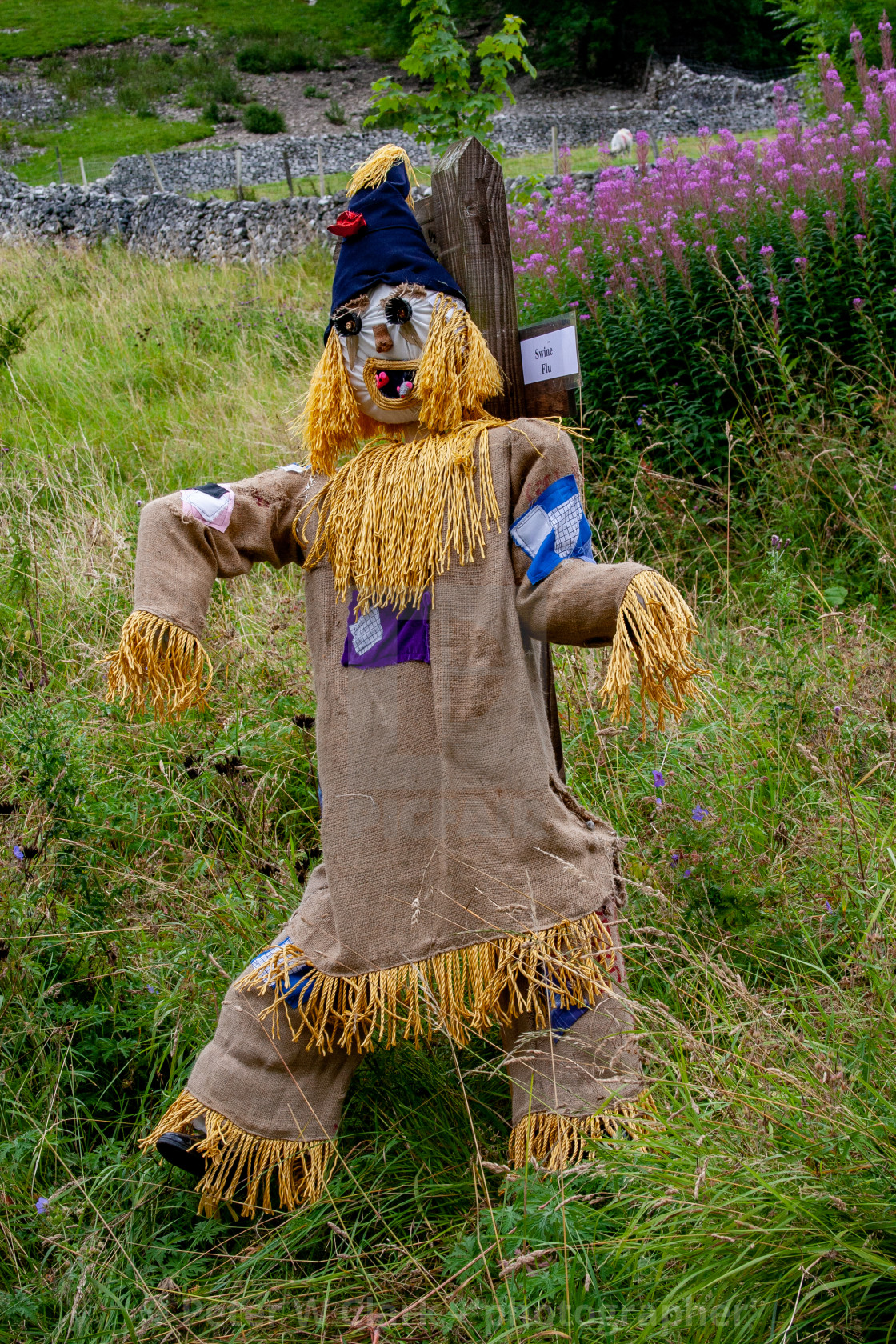"""Kettlewell Scarecrow Festival and Trail. Worzel Gummidge. Yorkshire Dales, England."" stock image"