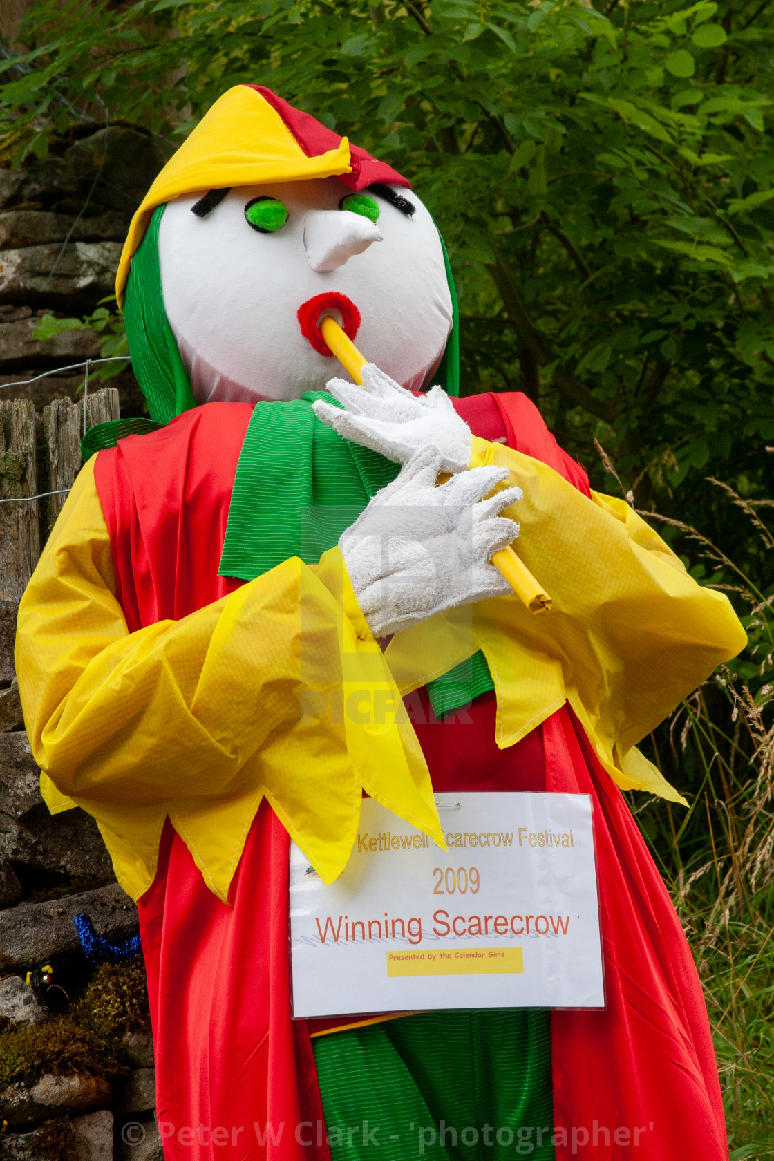 """Kettlewell Scarecrow Festival and Trail, Pied Piper. Winner. Yorkshire Dales, England."" stock image"