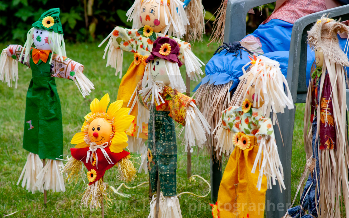 """Kettlewell Scarecrow Festival and Trail, School Time. Yorkshire Dales, England."" stock image"