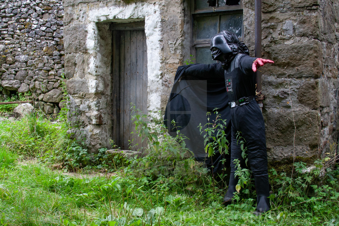 """Kettlewell Scarecrow Festival and Trail, Darth Vader, Star Wars. Yorkshire Dales, England."" stock image"