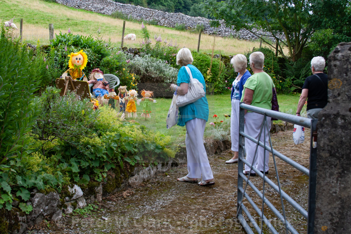 """Kettlewell Scarecrow Festival and Trail, School, Yorkshire Dales, England."" stock image"