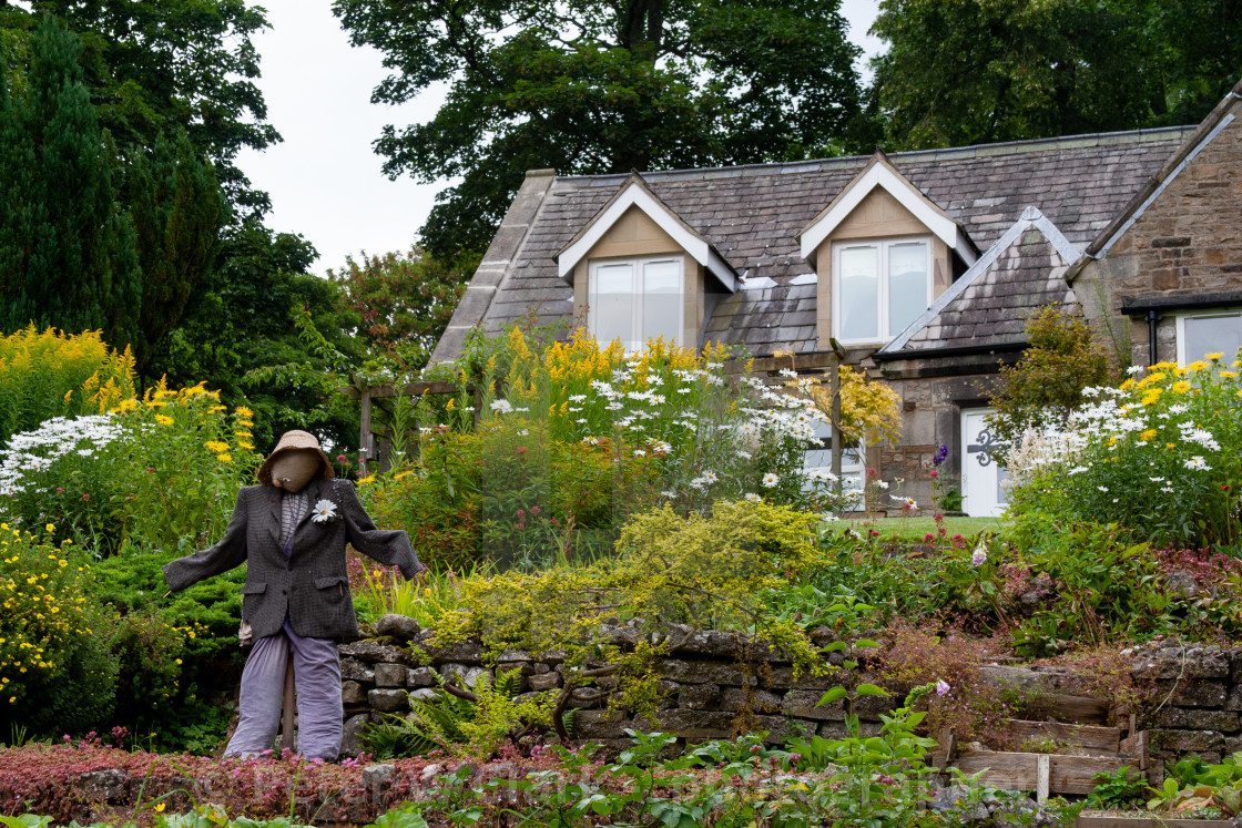 """Kettlewell Scarecrow Festival and Trail, Country Garden. Yorkshire Dales, England."" stock image"