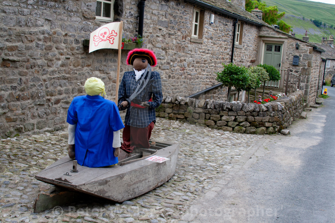 """Kettlewell Scarecrow Festival and Trail, Pirate and Boat. Yorkshire Dales, England."" stock image"