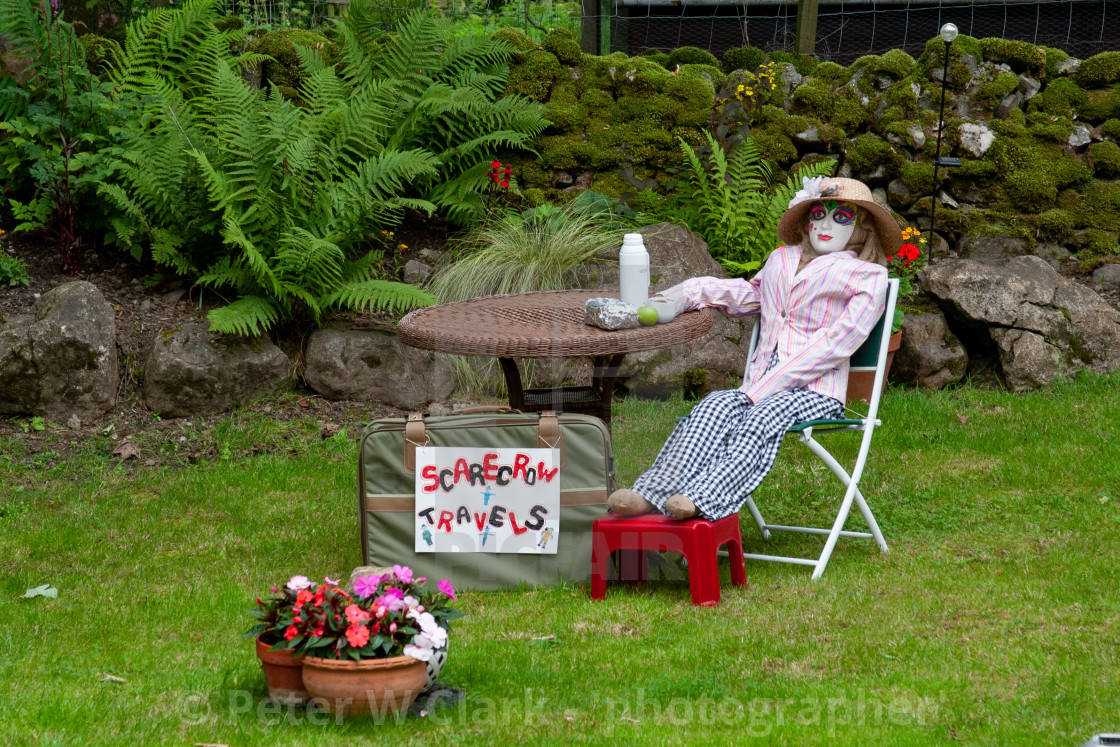 """Kettlewell Scarecrow Festival and Trail, Traveller taking a Break. Yorkshire Dales, England."" stock image"