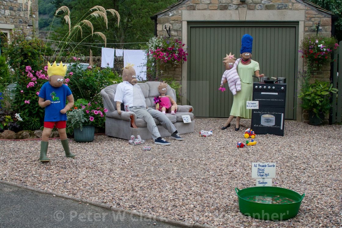 """Kettlewell Scarecrow Festival and Trail, The Simpsons. Yorkshire Dales, England."" stock image"