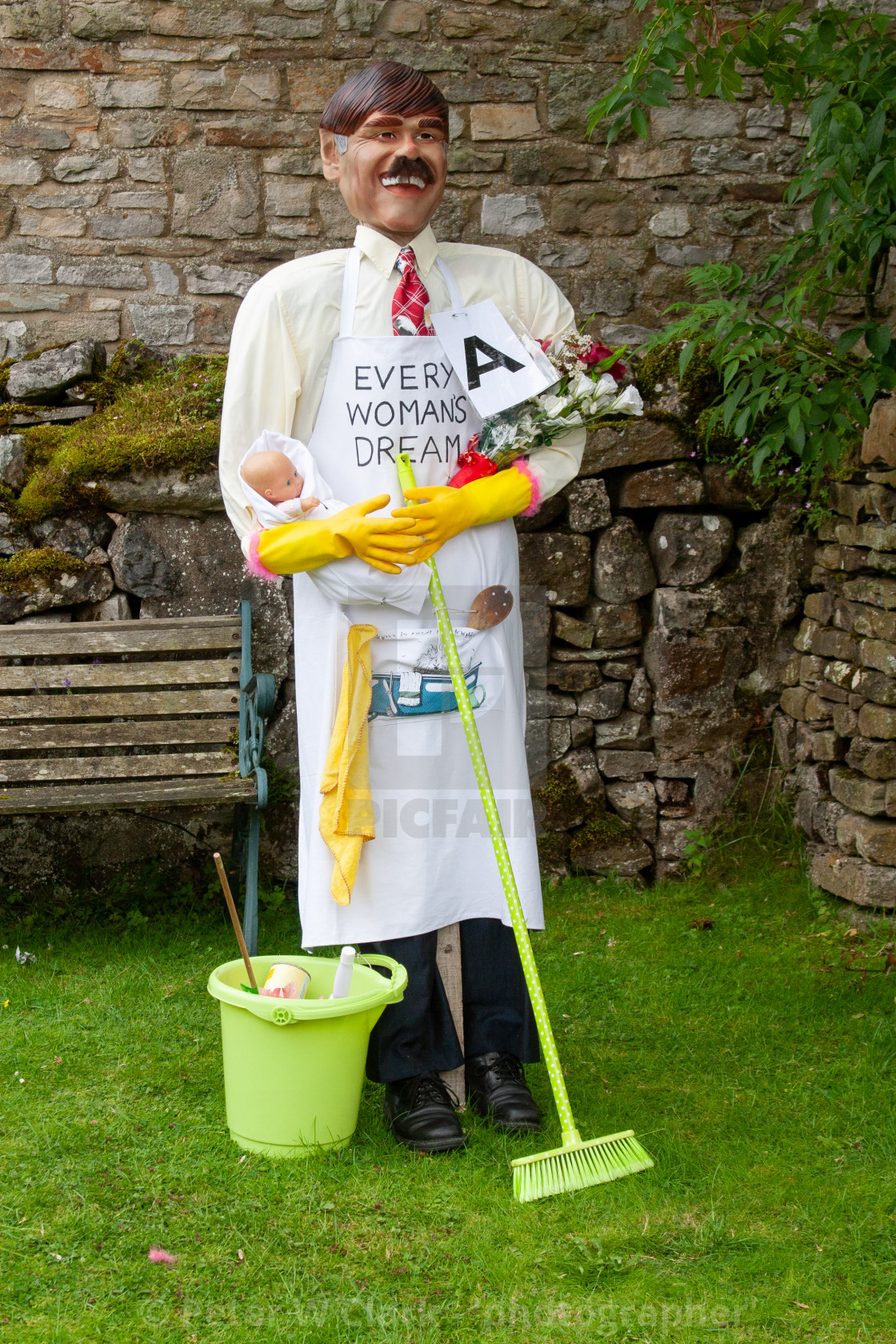 """Kettlewell Scarecrow Festival and Trail, House Husband, Yorkshire Dales, England."" stock image"