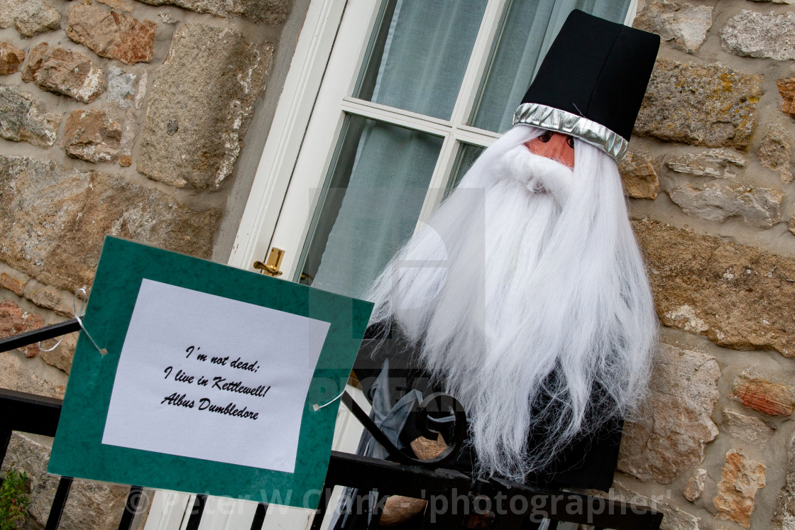 """Kettlewell Scarecrow Festival and Trail, Albus Dumbledore. Yorkshire Dales, England."" stock image"