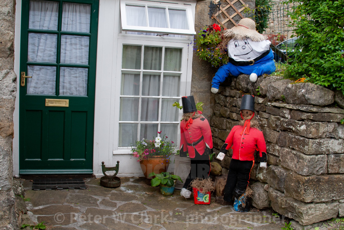 """Kettlewell Scarecrow Festival and Trail, Humpty Dumpty. Yorkshire Dales, England."" stock image"