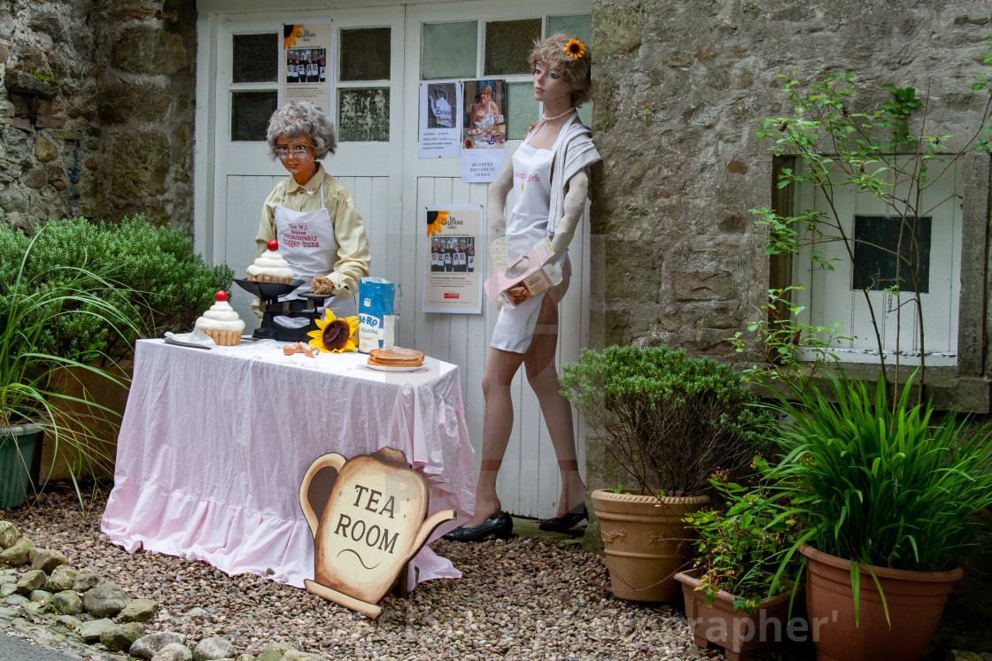 """Kettlewell Scarecrow Festival and Trail, W.I. Bigger Buns, Zarinas Tea Room. Yorkshire Dales, England."" stock image"