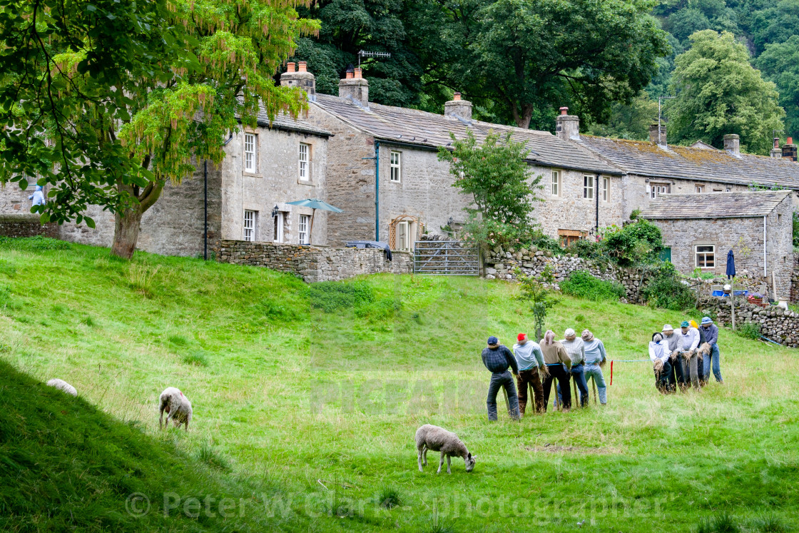 """Kettlewell Scarecrow Festival and Trail, Tug of War.Yorkshire Dales, England."" stock image"