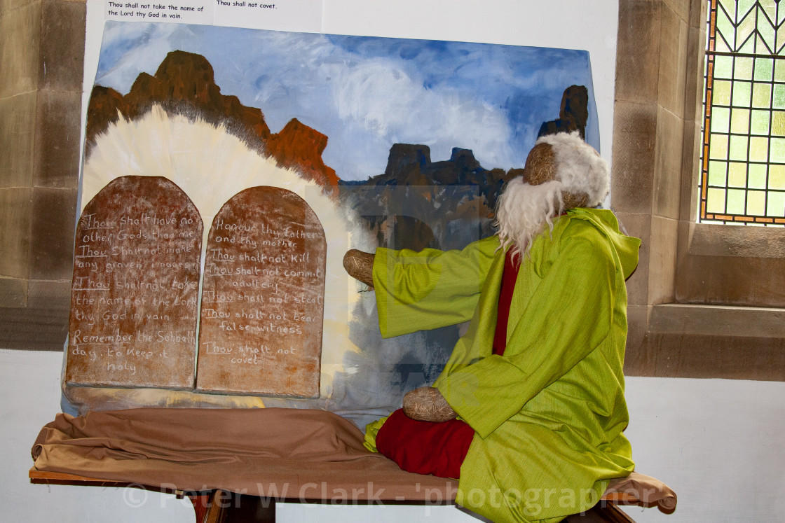 """Kettlewell Scarecrow Festival and Trail, Moses and Ten Commandments. Yorkshire Dales, England."" stock image"