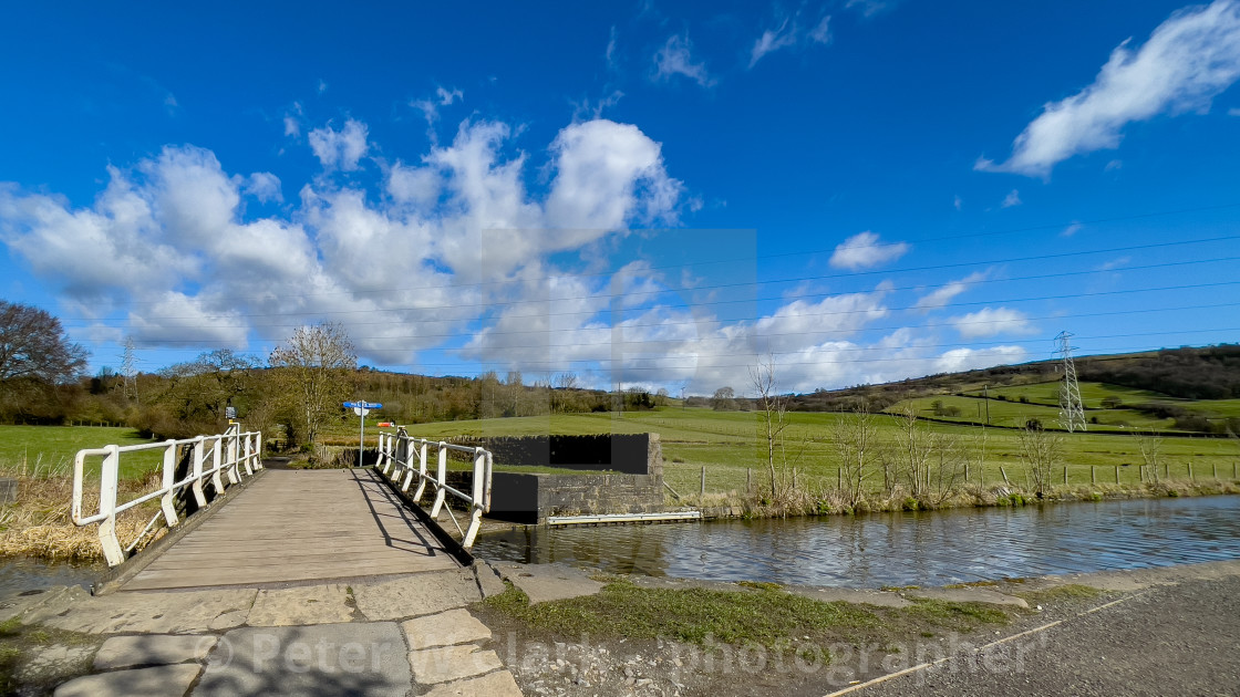 """Brunthwaite Swing Bridge No 192 on the Leeds Liverpool Canal"" stock image"