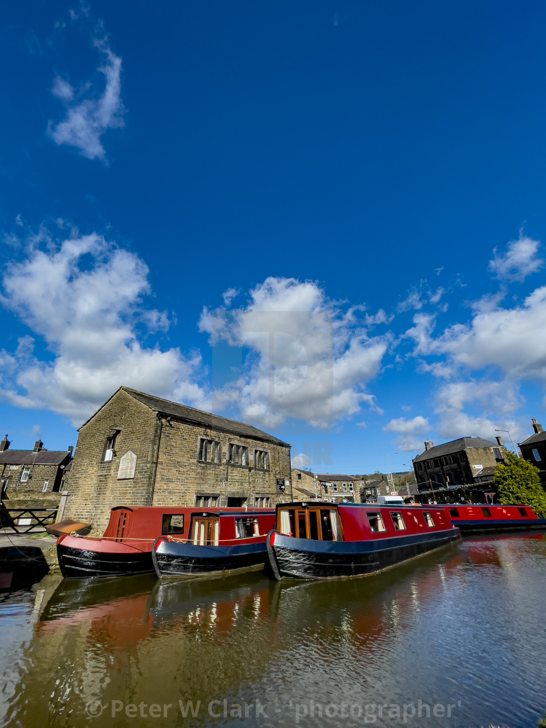 """Holiday Narrowboat/Barge Moored on the Leeds and Liverpool Canal at Silsden (Cobbydale) Yorkshire, England,"" stock image"