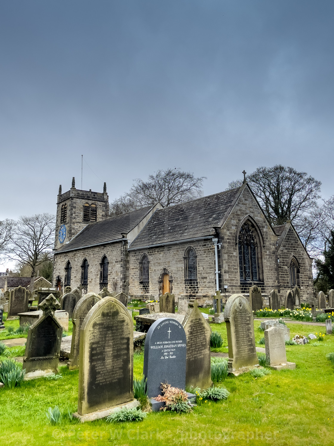 """St Peter's Church is a Church of England parish church in the village of Addingham, West Yorkshire. England. A grade 1 listed building"" stock image"