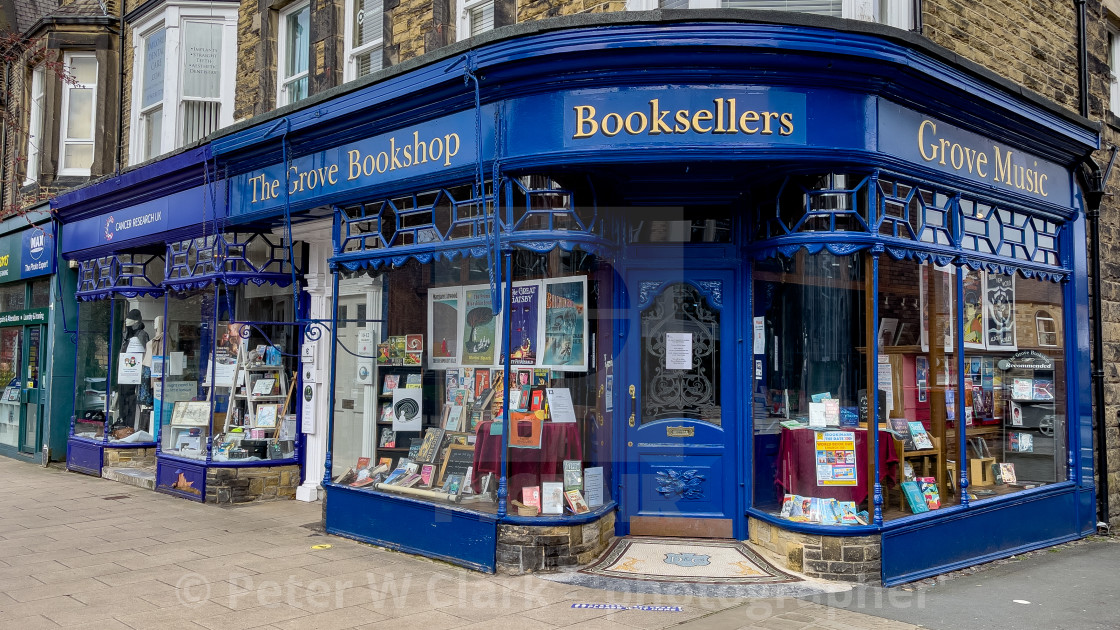 """The Grove Bookshop, Ilkley, Yorkshire, England."" stock image"