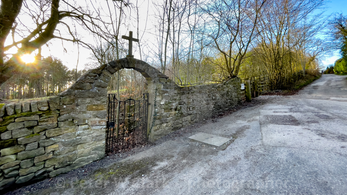 """The Approach Road, Calvary, Stations of the Cross, Ilkley, West Yorkshire, England."" stock image"