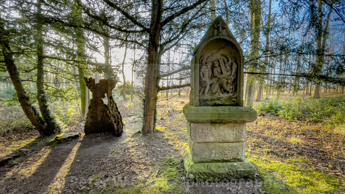 """Calvary, Stations of the Cross, Jesus falls a second time. Ilkley, West Yorkshire, England."" stock image"
