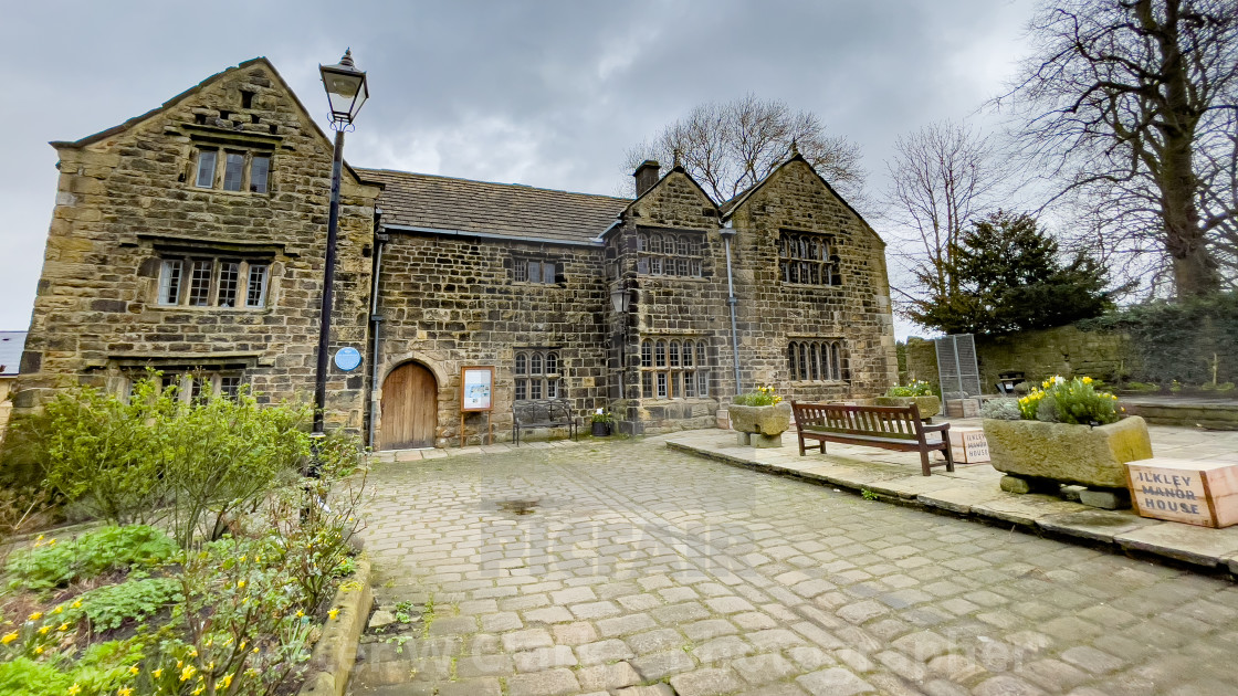 """Ilkley Manor House and Courtyard, Ilkley, Yorkshire, England."" stock image"