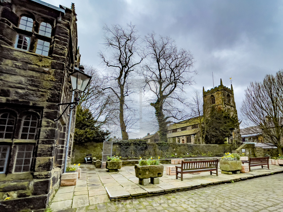 """Ilkley Manor House and All Saints Parish Church, Ilkley, Yorkshire, England."" stock image"