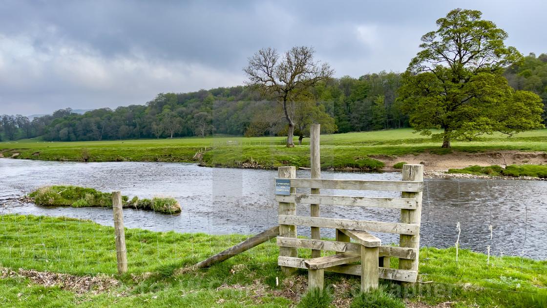 """River Wharfe near Bolton Abbey, Yorkshire,"" stock image"