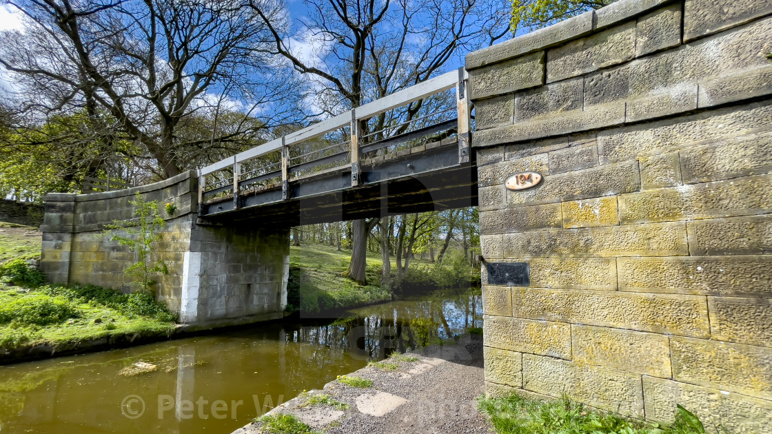 """""""Canal, Leeds Liverpool Canal and Lodge Hill Bridge no. 194, Near Silsden, Yorkshire."""" stock image"""