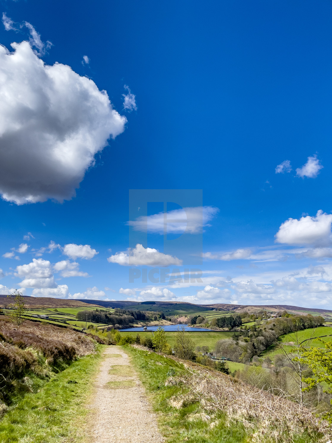 """""""Bronte Country, View over Oldfield from Bench by Cemetery Road, Haworth"""" stock image"""