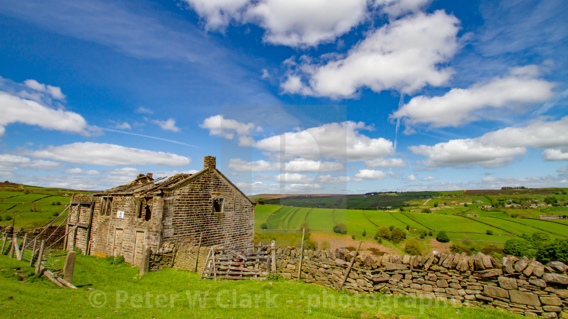 """Bronte Country, Derelict Farmhouse next to Footpath, Bronte Country, Footpath, The Bronte Way to Top Withens, a Derelict Farmhouse,"" stock image"