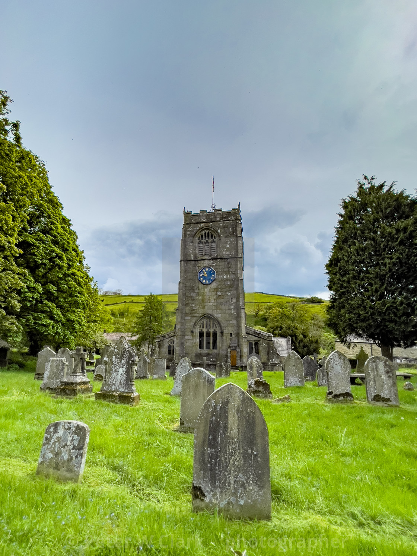 """Church of St Wilfrid and Gravestones, Burnsall, Yorkshire Dales."" stock image"