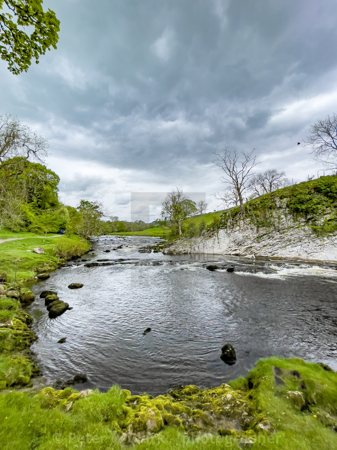 """""""River Wharfe at Loup Scar near Burnsall in the Yorkshire Dales."""" stock image"""