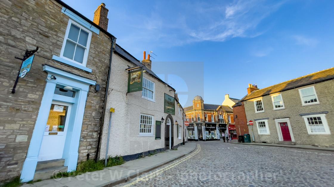 """Newbiggin, Cobbled Street, Richmond, Yorkshire."" stock image"