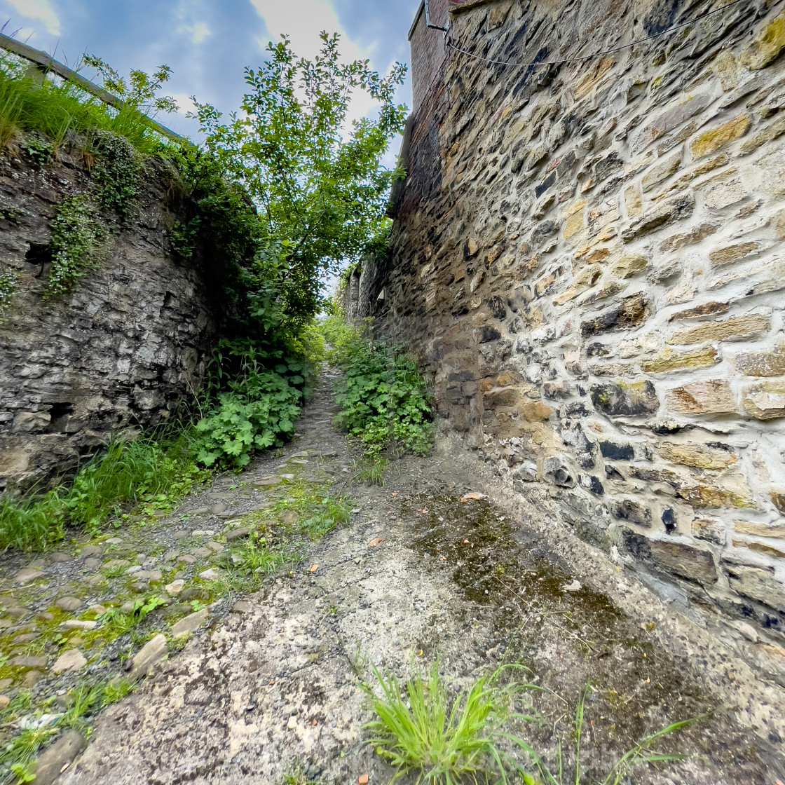 """""""Old Passageway from the Bar, Richmond, Yorkshire."""" stock image"""