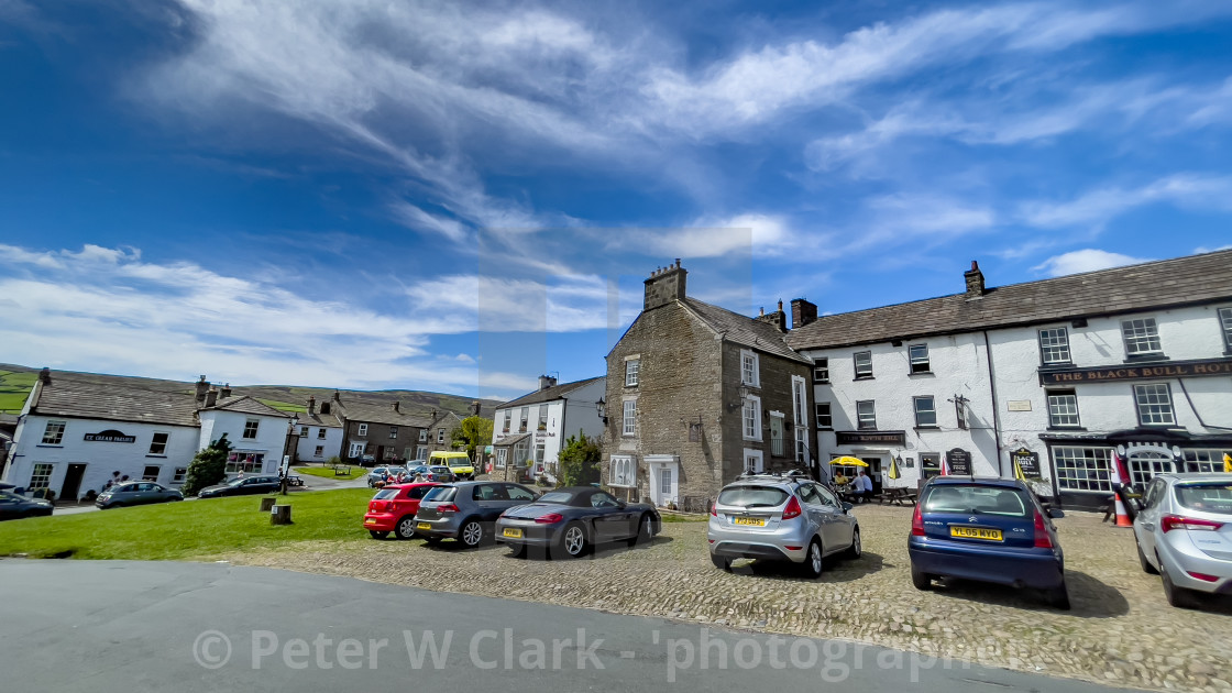"""""""Black Bull Hotel and Forecourt, Reeth, Swaledale,"""" stock image"""