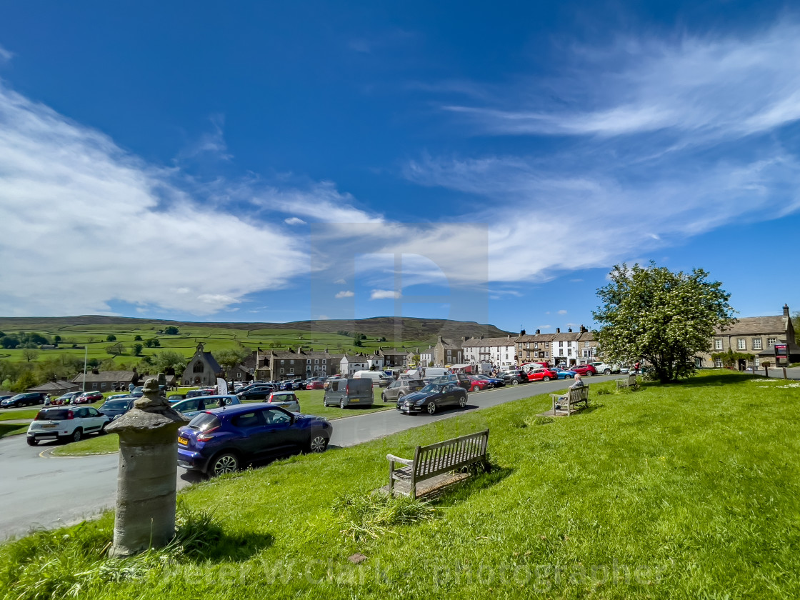 """""""Reeth Village Green, Swaledale, North Yorkshire."""" stock image"""