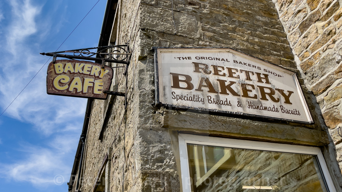 """""""Reeth Bakery Signs, Swaledale, North Yorkshire."""" stock image"""